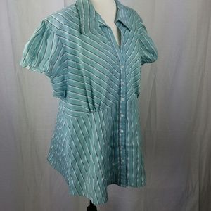 Maurices Top 22 Plus Blue Black Silver Stripes